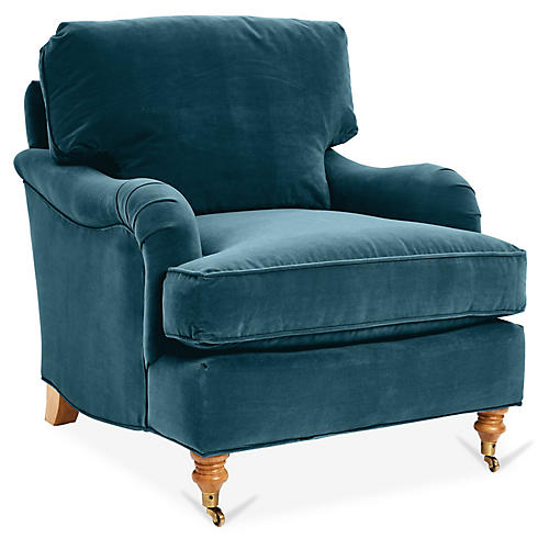 Brooke Club Chair, Admiral Blue Crypton