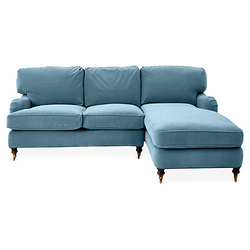 Brooke Right-Facing Sectional, Col. Blue Crypton