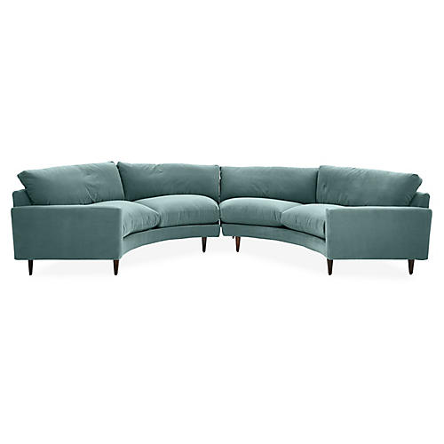 Olso Curved Sectional, Sage Crypton