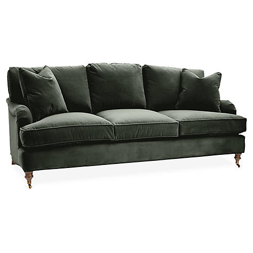 Brooke 3-Seat Sofa, Forest Green Velvet