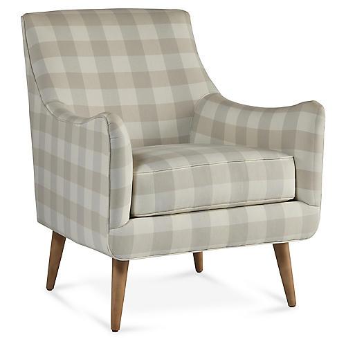 Oliver Chair, Light Gray Gingham