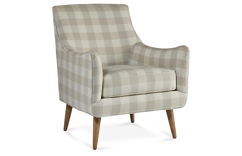 Oliver Accent Chair, Beige/Light Gray