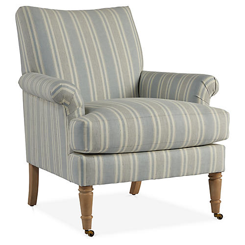 Avery Accent Chair, Blue/Ivory Linen