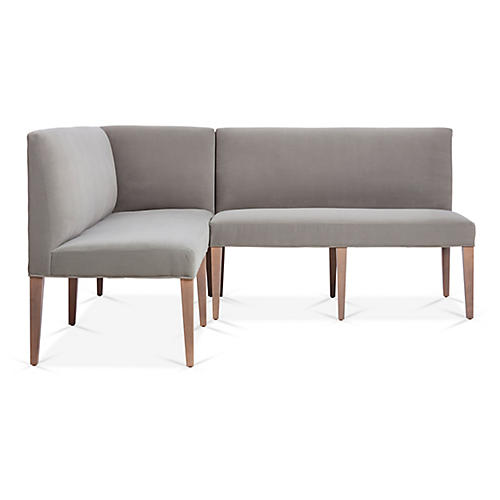 Reeves Left-Facing Banquette, Pebble Crypton Velvet