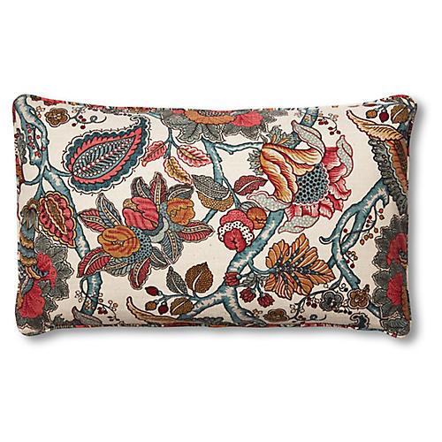 Dottie 15x25 Lumbar Pillow, Scarlet Floral
