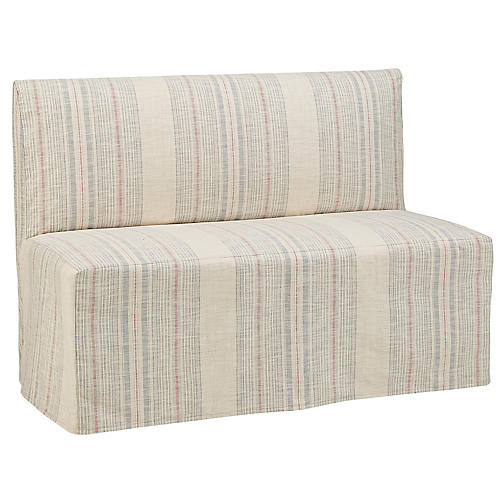 Reeves Slipcover Banquette, Cream/Indigo Stripe
