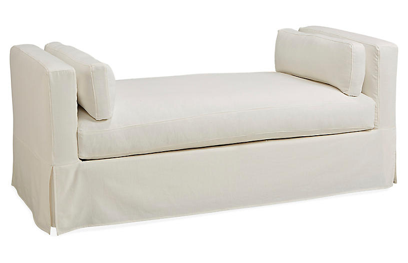 Shaw Slipcover Daybed, Bone White Crypton