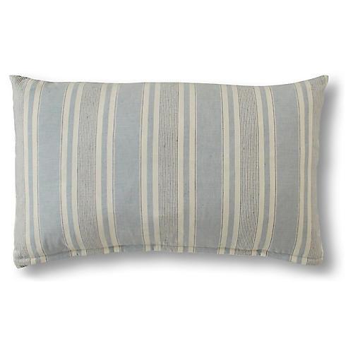 Aspen 15x25 Lumbar Pillow, Federal Blue Linen