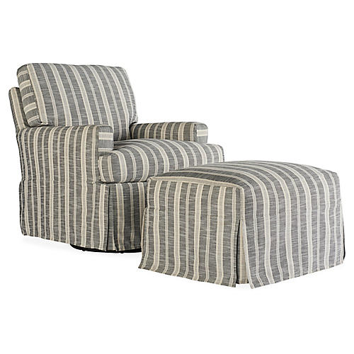 Sadie Slipcover Chair & Ottoman Set, Midnight Stripe