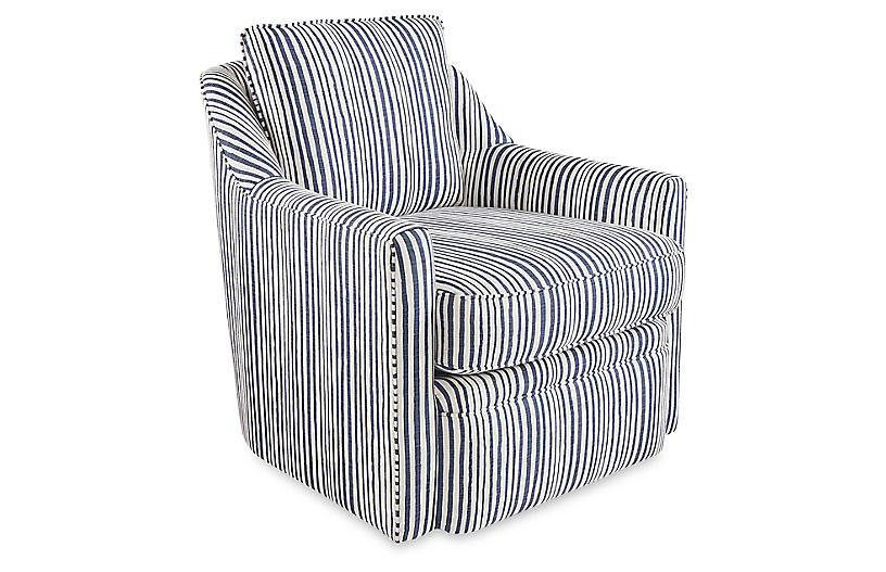 Chelsea Swivel Chair, Indigo Stripe