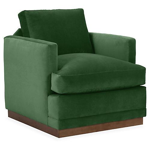 Shaw Swivel Chair, Emerald Velvet