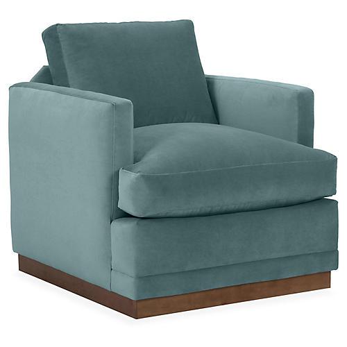Shaw Swivel Club Chair, Sage Velvet