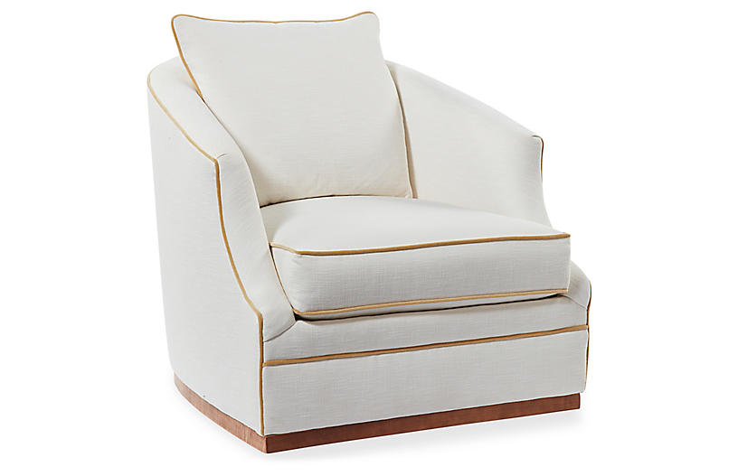 Annie Swivel Chair, Ivory