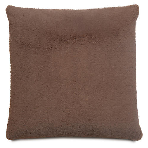 Faux-Fur 22x22 Pillow, Café