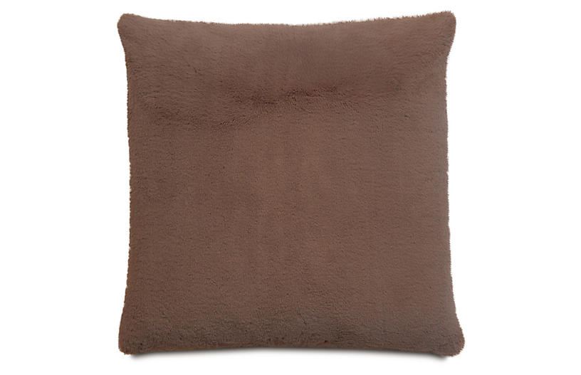 Faux Fur 22x22 Pillow, Brown