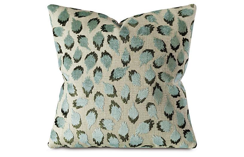 Trinka 22x22 Spot Pillow, Green/Tan