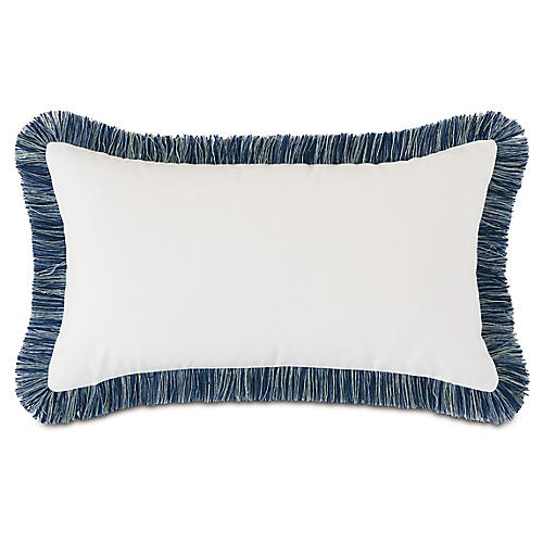 Luna 13x22 Lumbar Pillow, White/indigo