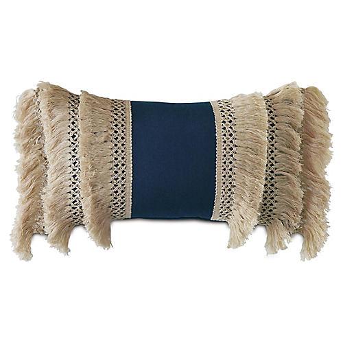 Callie 13x22 Outdoor Lumbar Pillow, Indigo