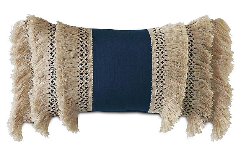 Callie Lumbar Pillow, Blue/Natural