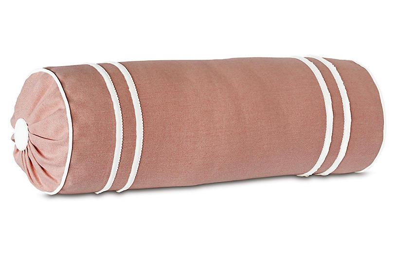 Bree Bolster Pillow, Melon/White