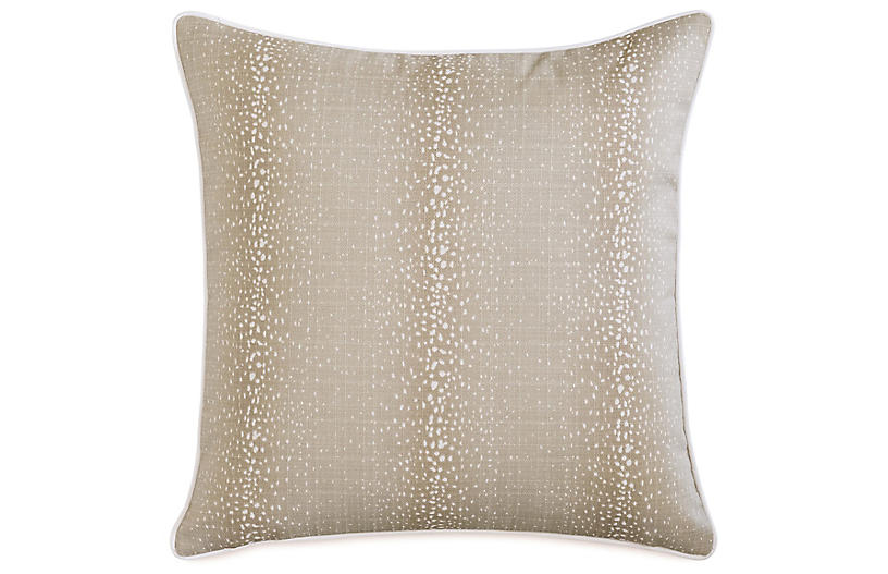 Evie Fawn 20x20 Outdoor Pillow, Natural