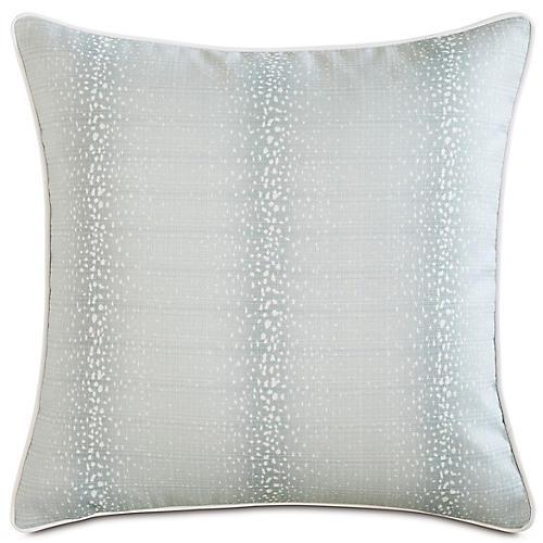 Evie Mist 20x20 Outdoor Pillow, Light Blue/White