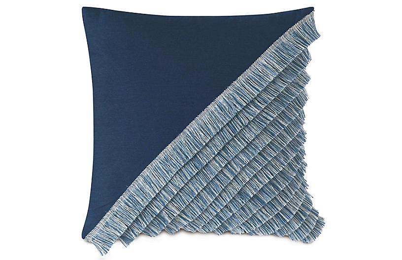 Charlotte 20x20 Outdoor Pillow, Indigo/Light Blue