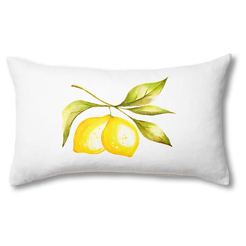 April Lemon 13x22 Lumbar Pillow, White/Yellow