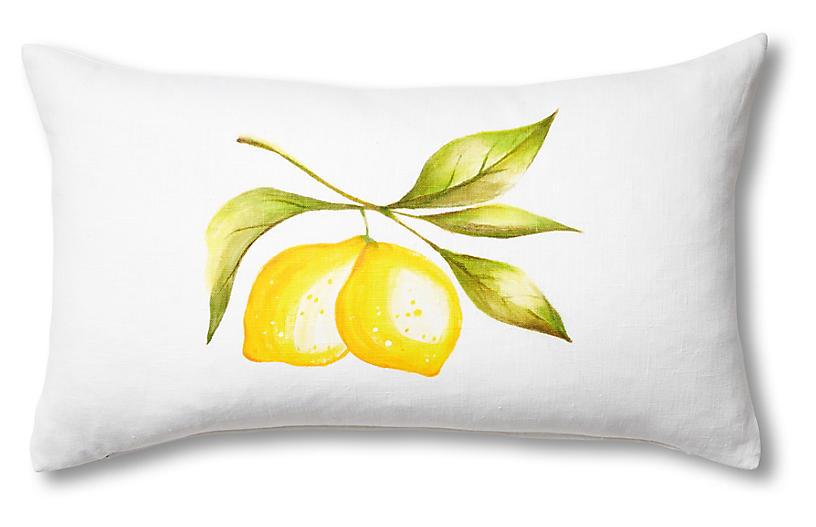 April Lemon 13x22 Lumbar Pillow, White/Yellow