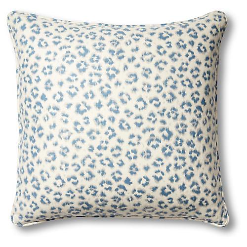 Carrie Leopard 20x20 Pillow, Sapphire
