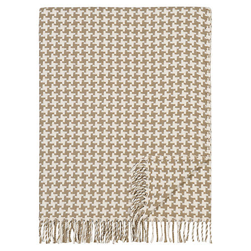 Sloane London Cotton-Blend Throw, Beige/Ivory