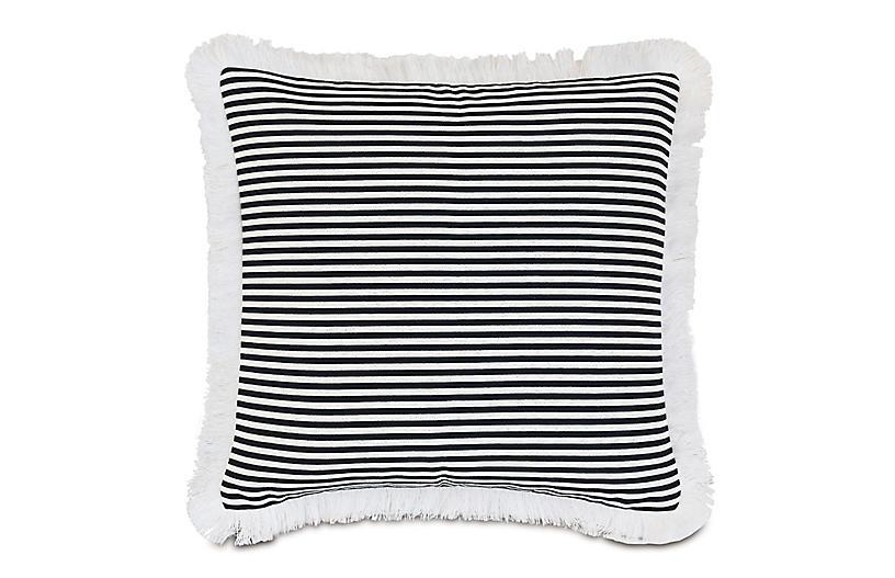 Ahoy 20x20 Outdoor Fringe Pillow, Black/White