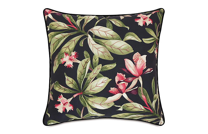 Kala 20x20 Outdoor Pillow, Black Palm