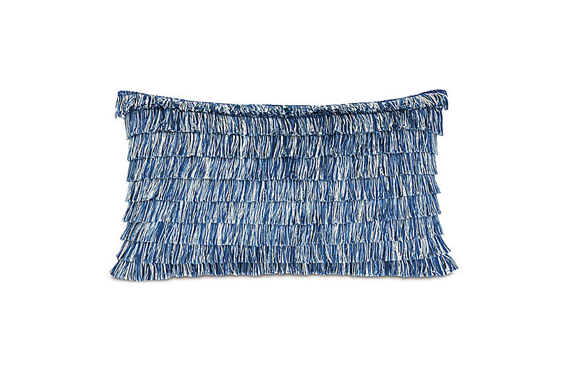 Faye 13x22 Outdoor Lumbar Pillow, Blue