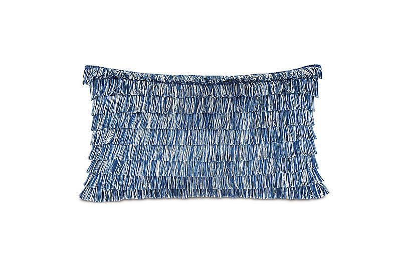 Faye Lumbar Outdoor Pillow, Sail Blue