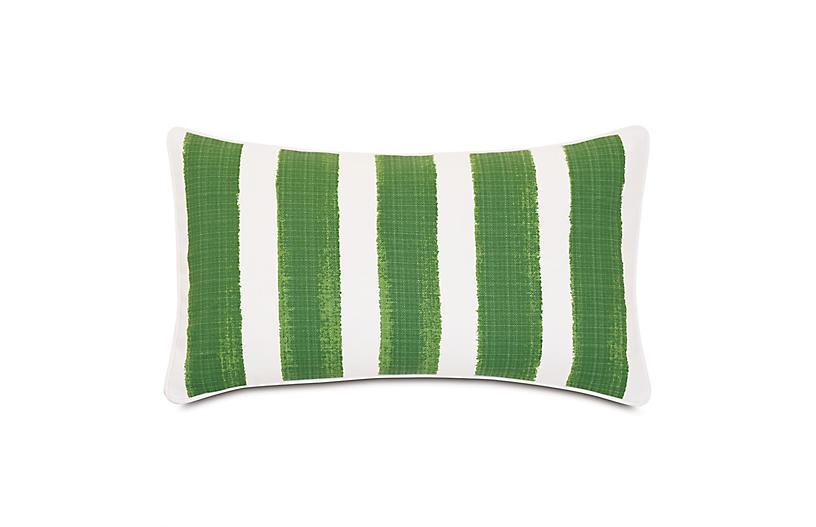 Pergola Lumbar Outdoor Pillow, Basil/White