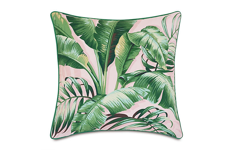 Kala 20x20 Outdoor Pillow, Pink Palm