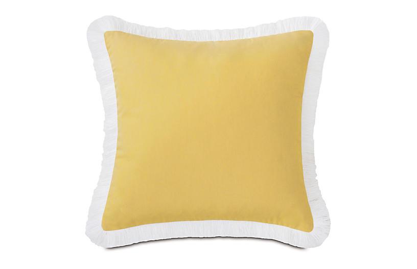 Luna 20x20 Outdoor Pillow, Yellow/White