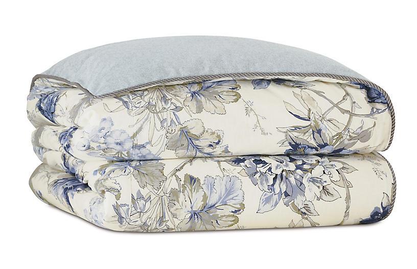 Liesl Floral Duvet Cover, Blue