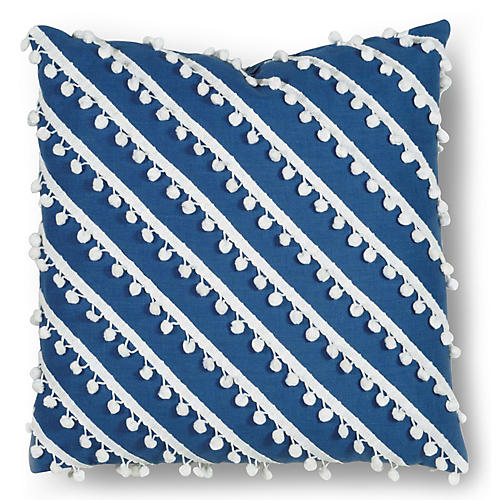 Mills 20x20 Pillow, Blue/White Linen