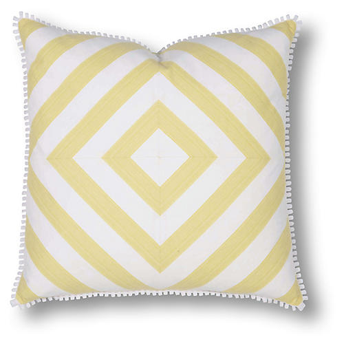 Jane 22x22 Pillow, Yellow/White