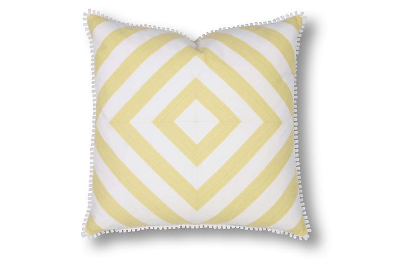 Jane 22x22 Pillow, Yellow/White