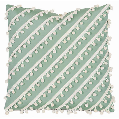 Maddie Outdoor Pillow, Green/White Sunbrella