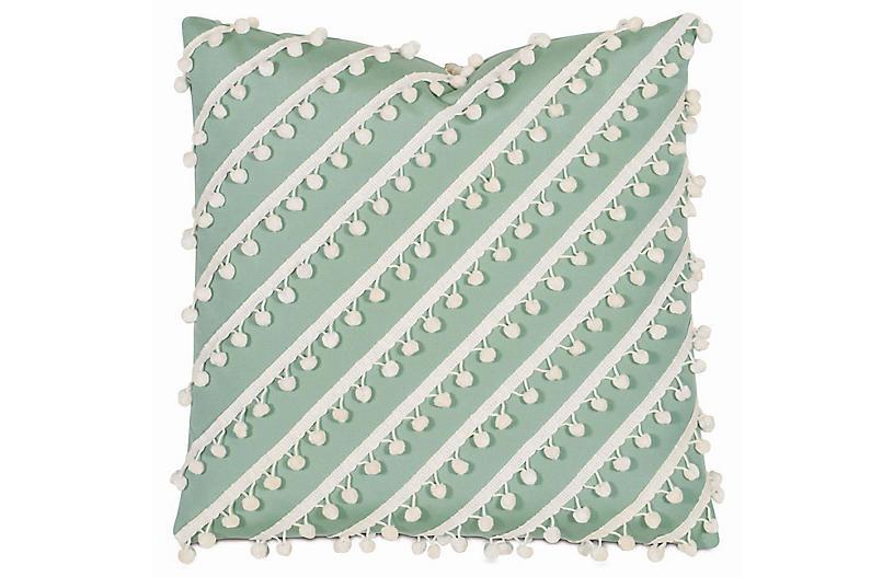 Maddie Outdoor Pillow, Green/White Sunbrella