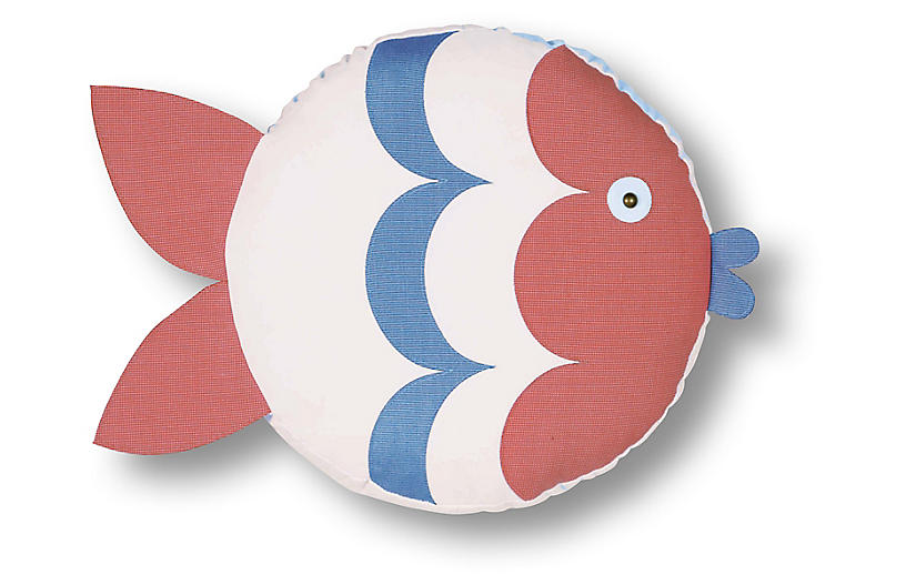 Ellie 14x14 Outdoor Right-Facing Pillow, Coral