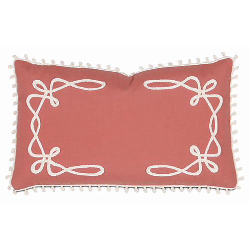 Elise 13x22 Outdoor Lumbar Pillow, Coral/White