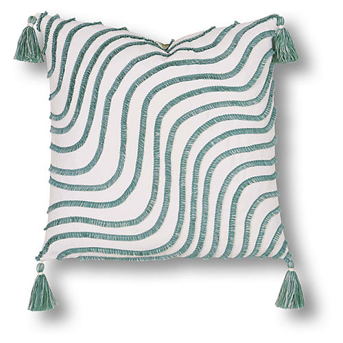 Waves 20x20 Outdoor Pillow, Green/White