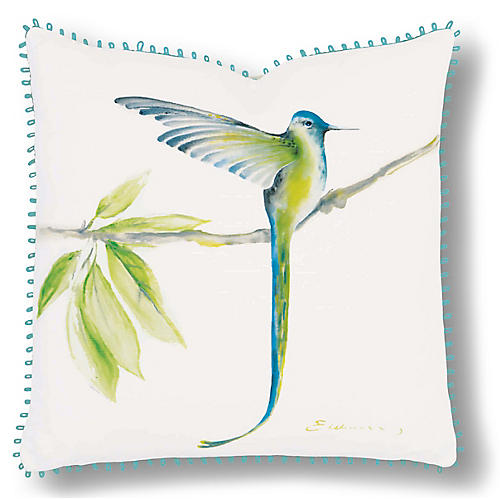 Nora 18x18 Pillow, Ivory/Blue