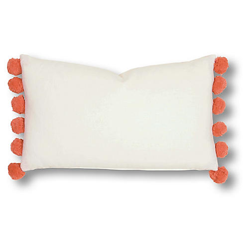 Eliza 13x22 Pillow, Orange/White Linen