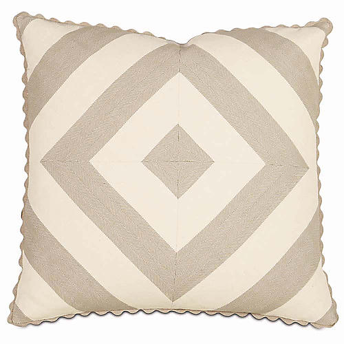 Norwood 20x20 Pillow, Ivory/Taupe